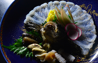珍しい虎魚の薄造りとわた珍味